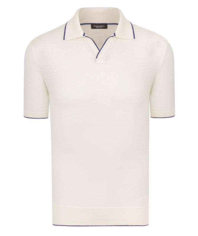Here, the classic buttonless polo takes center stage, woven in a lightweight silk, cashmere, and linen blend.