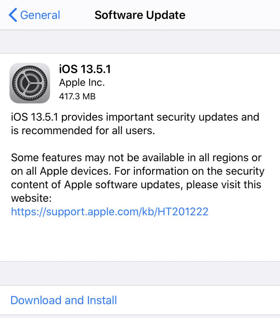 Apple iOS 13.5.1 security update.