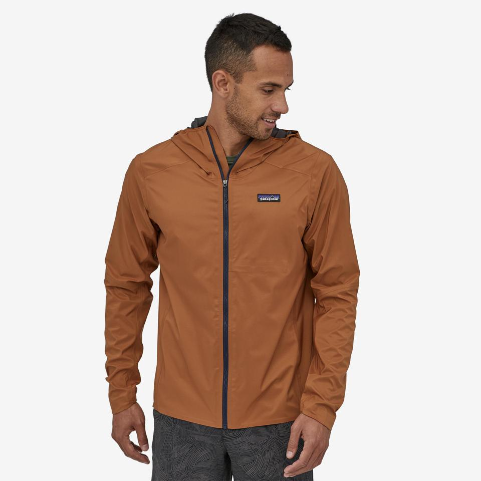 A man wears the Dirt Roamer Jacket from Patagonia