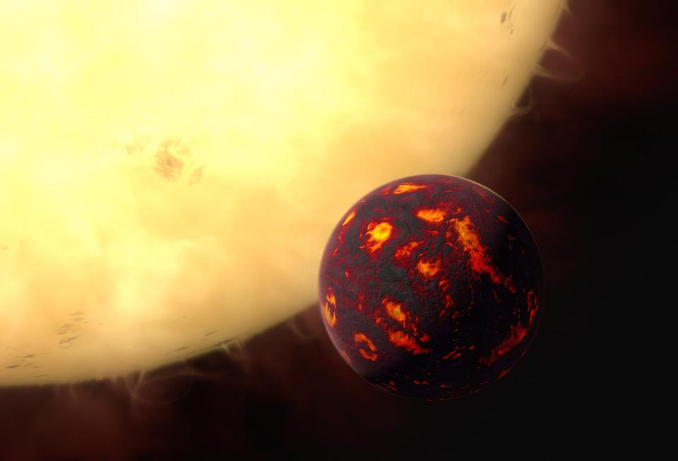 This artist's impression shows the super-Earth 55 Cancri e in front of its parent star.