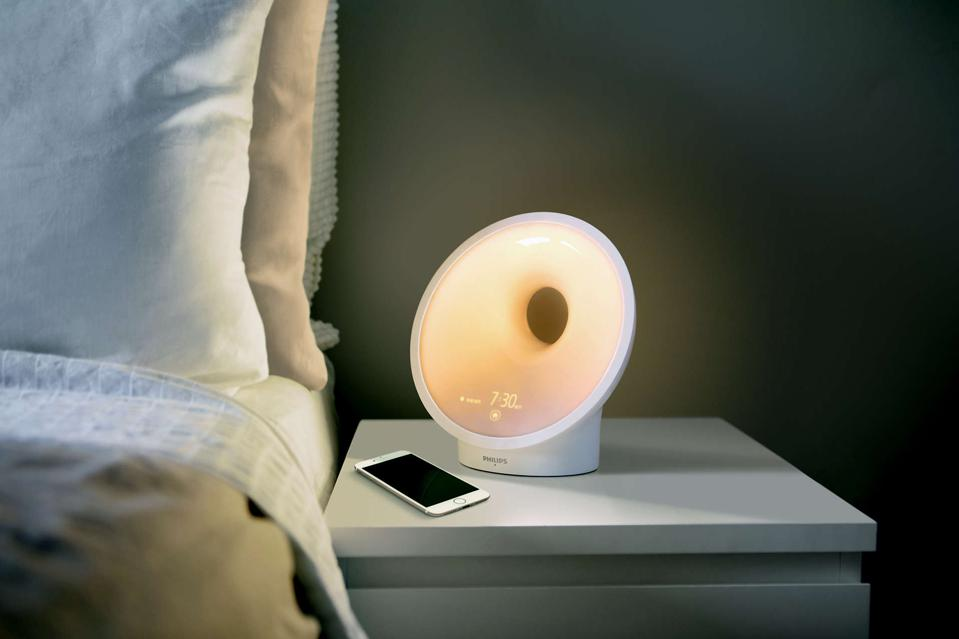 Philips Connected Sleep and Wake-up light on a nightstand