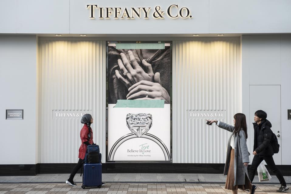 American luxury jewelry company Tiffany & Co store seen in...
