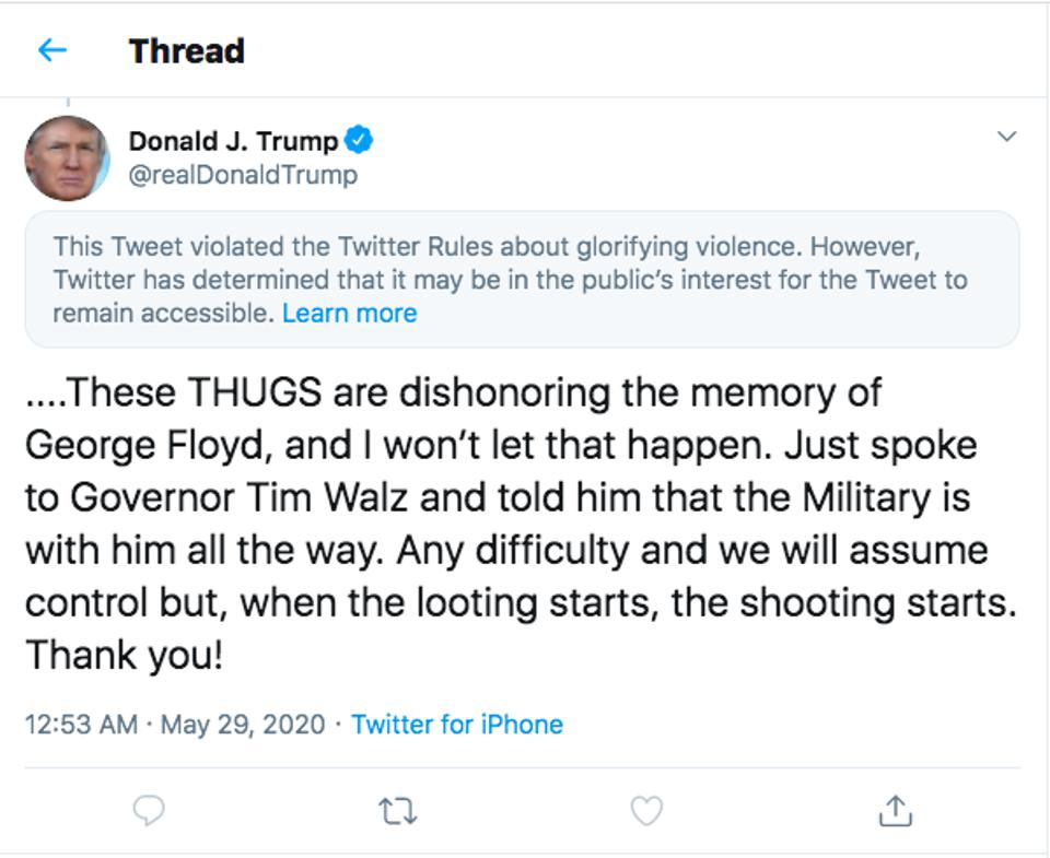 Screenshot demonstrating President Trump's tweet about looting with public interest notice from Twitter attached.
