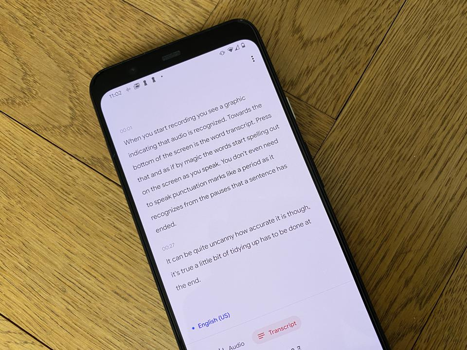 The cool transcription function on the Pixel 4XL