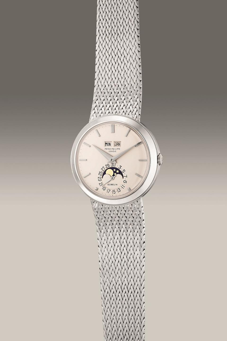 Patek Philippe Reference 3448/14, 1975, white gold perpetual calendar watch, moon phases