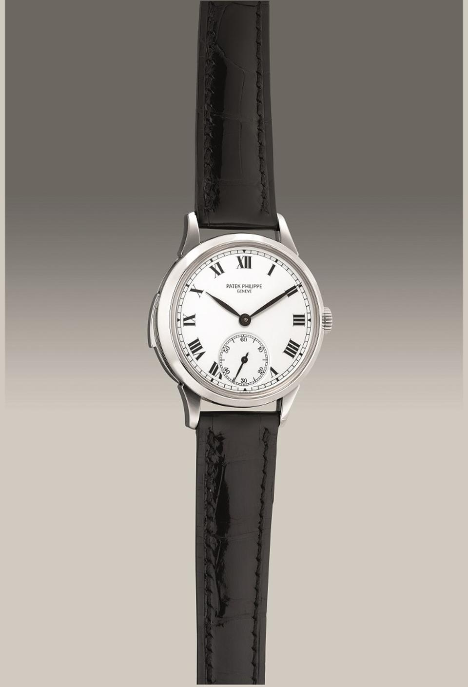 Patek Philippe Reference 3979, 1996, platinum minute repeater wristwatch with enamel dial