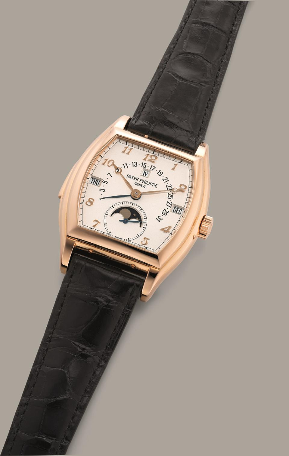 Patek Philippe Reference 5013R, 2000, pink gold tonneau minute repeater perpetual calendar