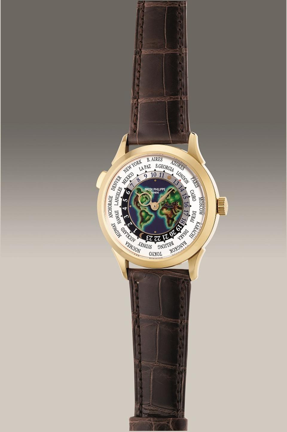 """Patek Philippe Reference 5231J-001, 2019, yellow gold World Time watch with """"cloisonné"""" enamel dial"""