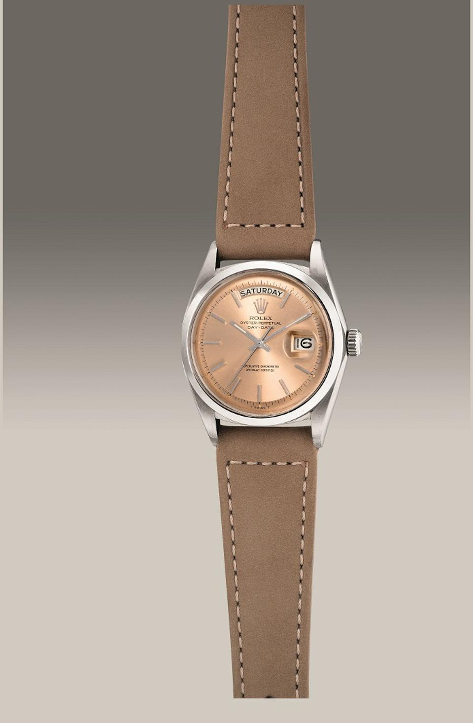 Rolex Day-Date Reference 1802, 1971, white gold watch with salmon dial