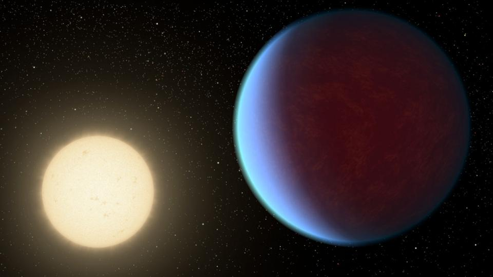 The super-Earth exoplanet 55 Cancri e, depicted with its star in this artist's concept, likely has an atmosphere thicker than Earth's but with ingredients that could be similar to those of Earth's atmosphere.