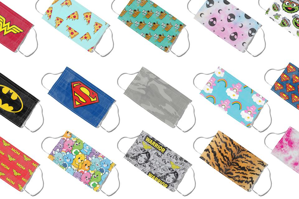 MaskClub's face masks include superhero, Muppet, and animal print designs