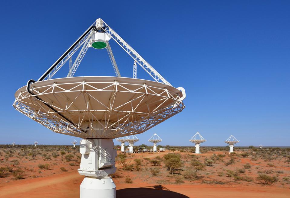 Antennas of CSIRO's ASKAP telescope at the Murchison Radio-astronomy Observatory in Western Australia.