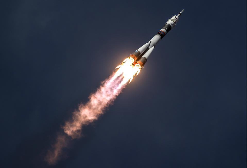 Launch of Soyuz-FG rocket carrying Soyuz MS-09 spacecraft from Baikonur Cosmodrome