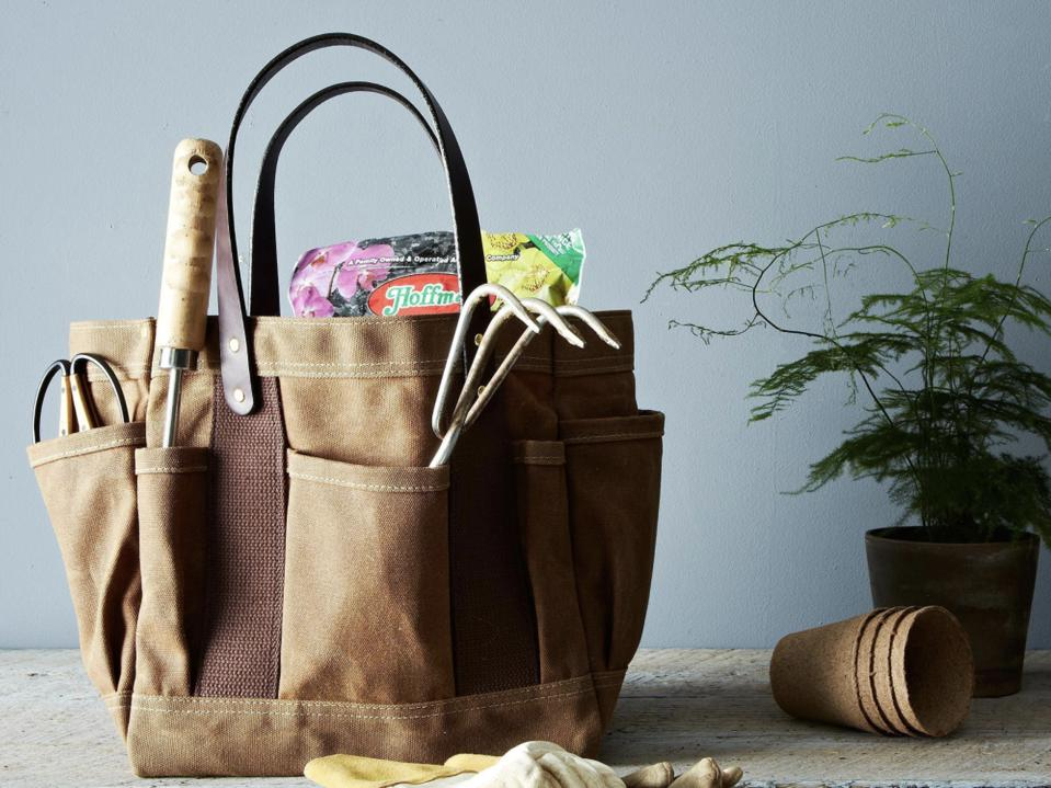 Parrot Canvas Waxed Tote Bag in brown with garden tools