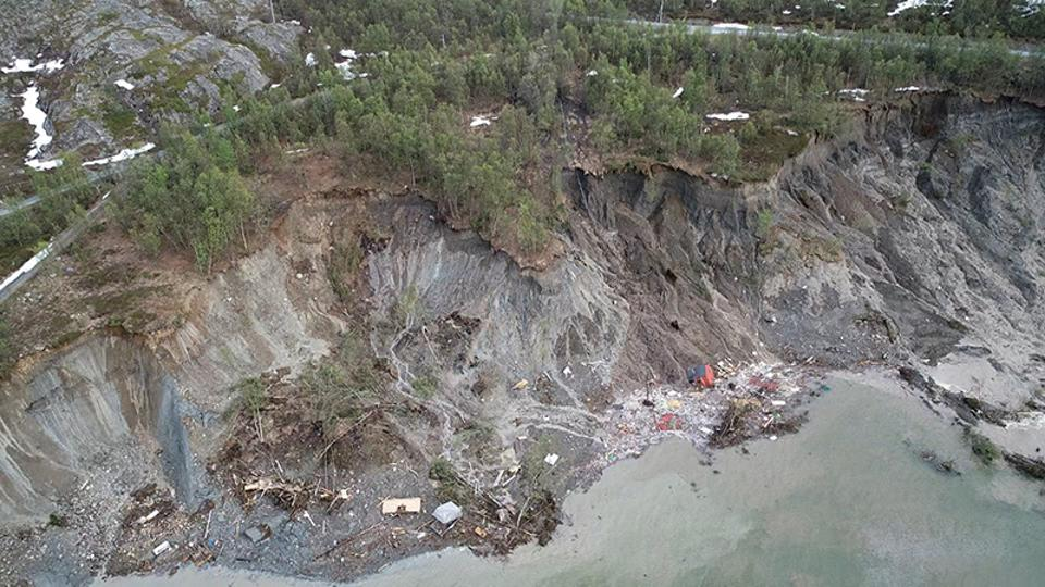 The incredible scar in the landscape left by the landslide in northern Norway