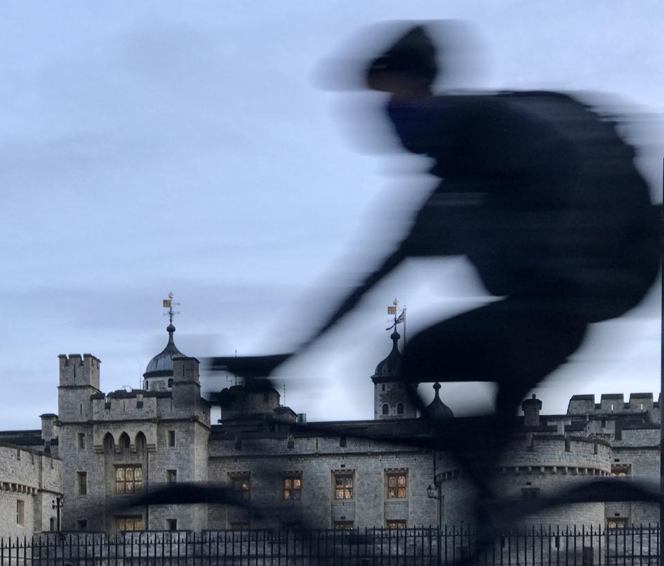 Tower of London. Cyclist.