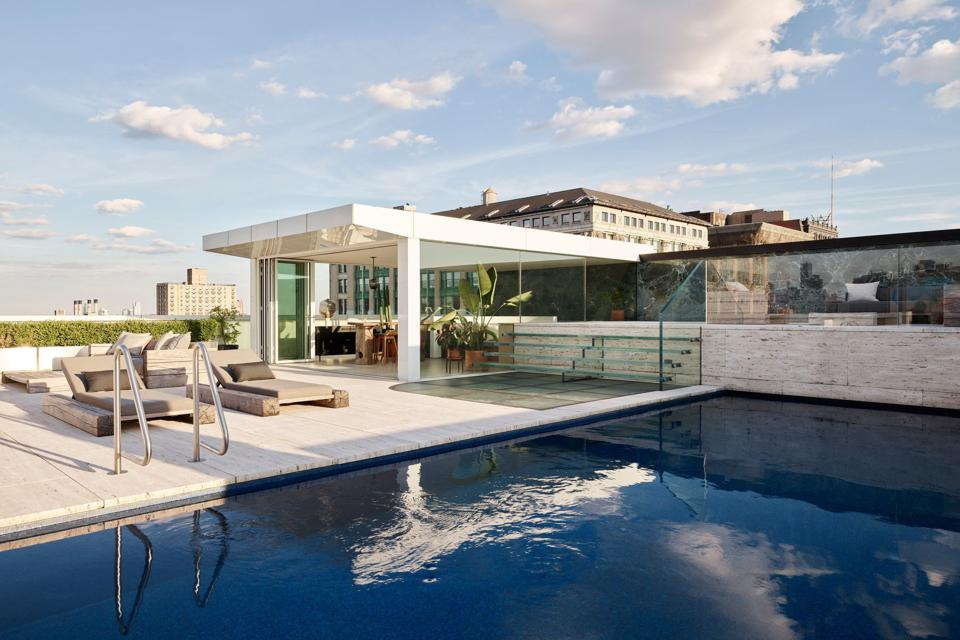A Downtown Manhattan penthouse condo duplex with 5,646 sq.ft. including 3 bedrooms, 4.5 bathrooms plus a swimming pool. Asking Price: $30 Million.