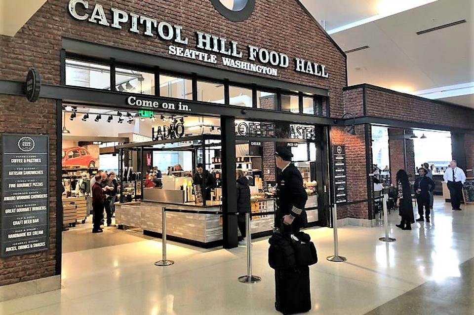 Capitol Hill Food Hall at Seattle-Tacoma Airport on Concourse A between Gates A5 and A6