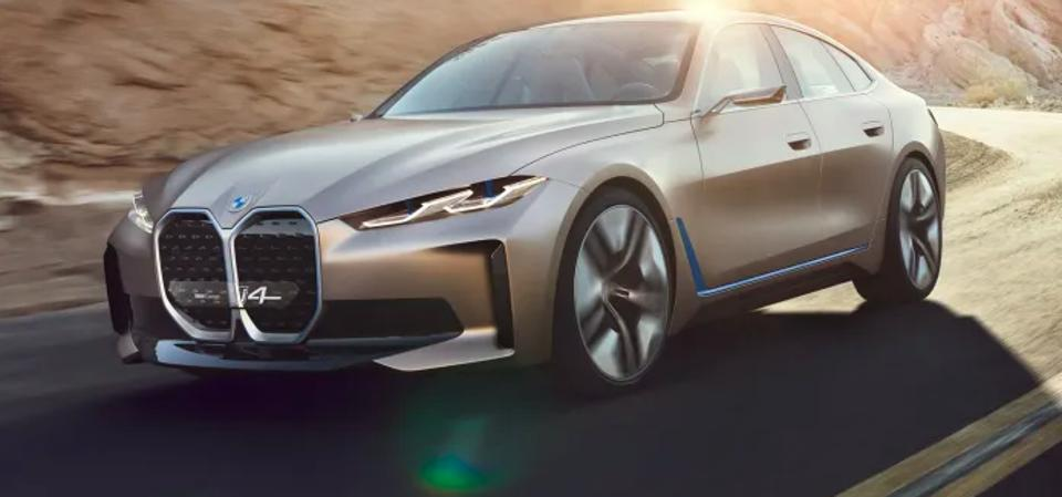 A concept model of BMW's i4 EV fastback scheduled for production in 2021