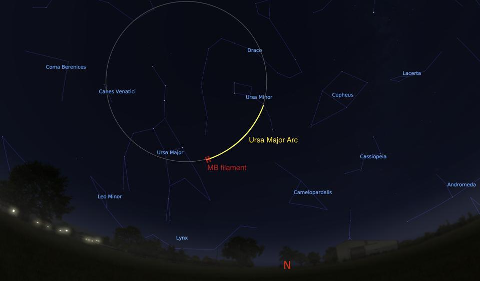 View of the night sky looking north from Chicago at 2:20 a.m. on June 4, 2020, showing the location of the Ursa Major Arc in the sky, the extension of the Ursa Major Arc into a full circle, and the original 2-degree long filament discovered in 1997.