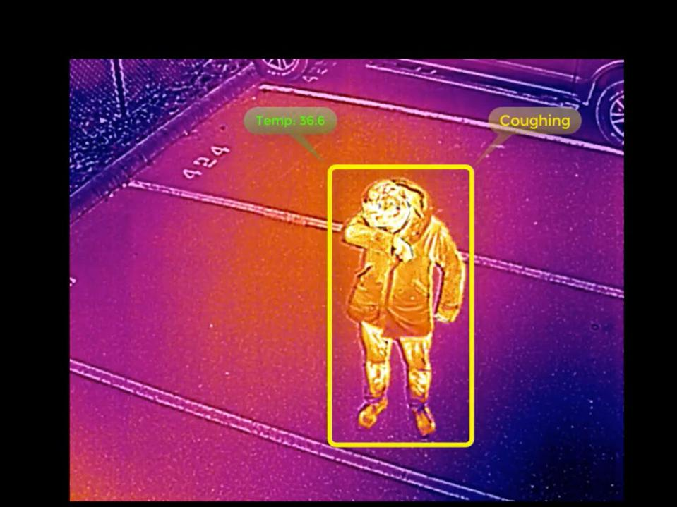 Thermal image of a worker sneezing