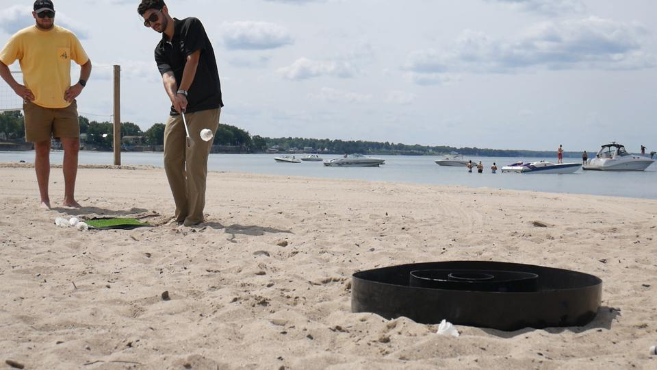 Chip-Down can be played in the yard or on the beach too.