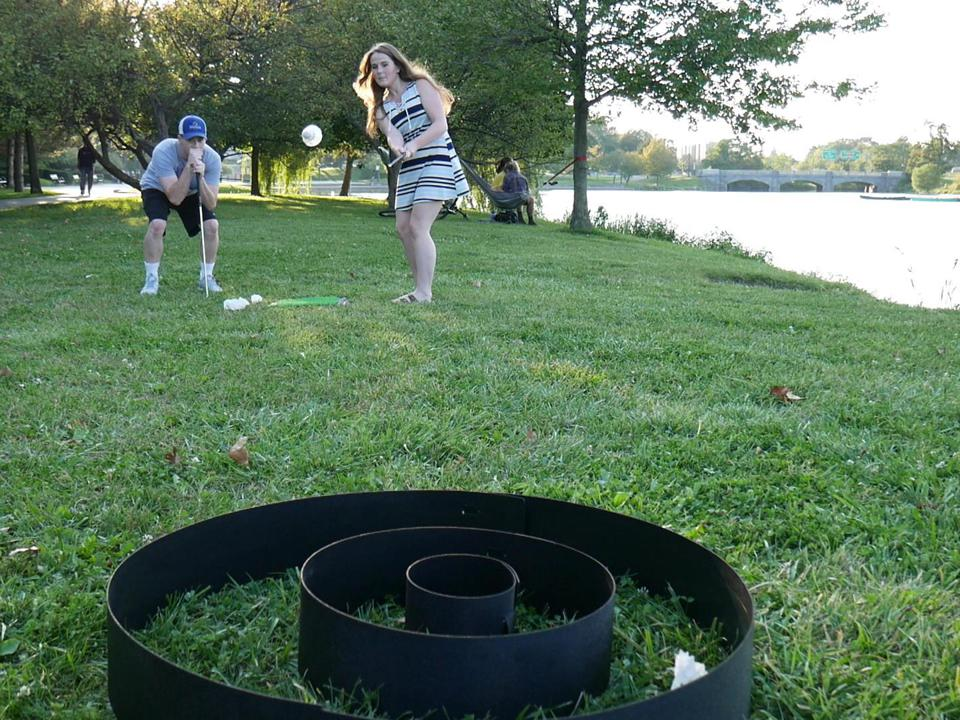 A Chip-Down player takes a shot in the park.