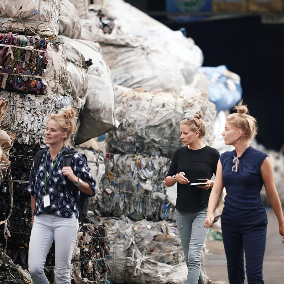 The Scott sisters at the plastic recycling plant in Jakarta