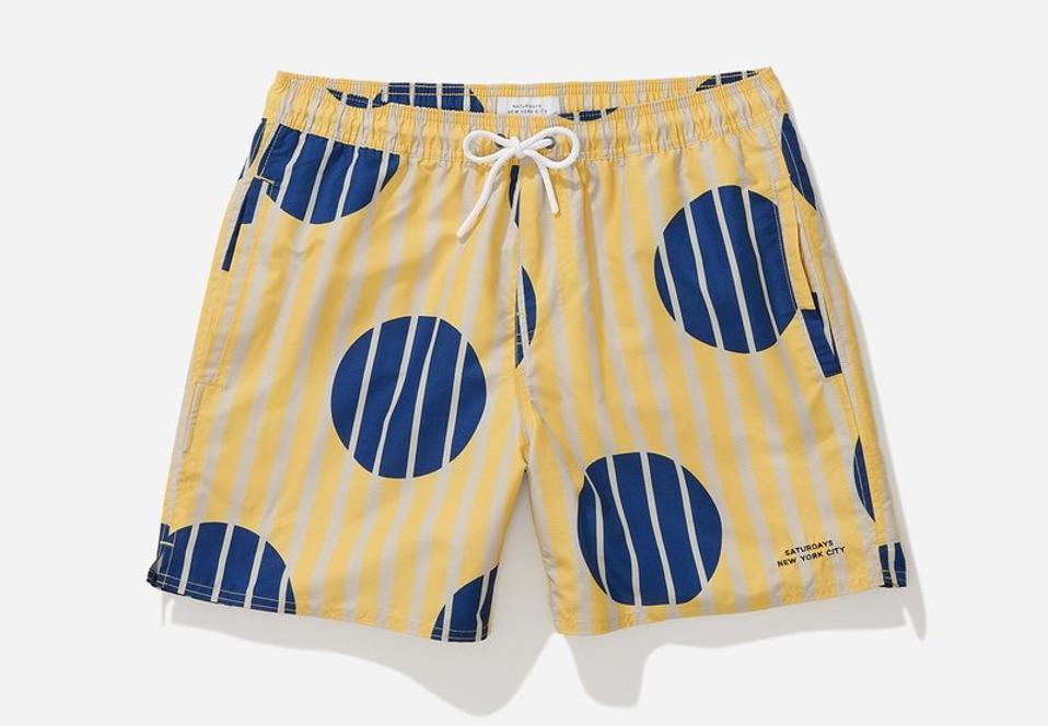 Saturdays Timothy Striped Polka Dot Swim Short