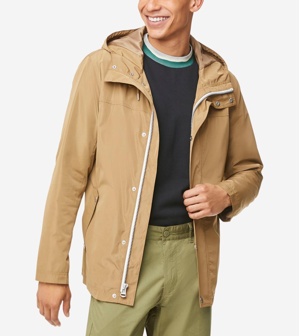 Cole Haan Men's Hooded Rain Jacket in khaki