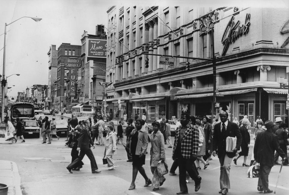 Downtown Baltimore shoppers in the early 1970s.