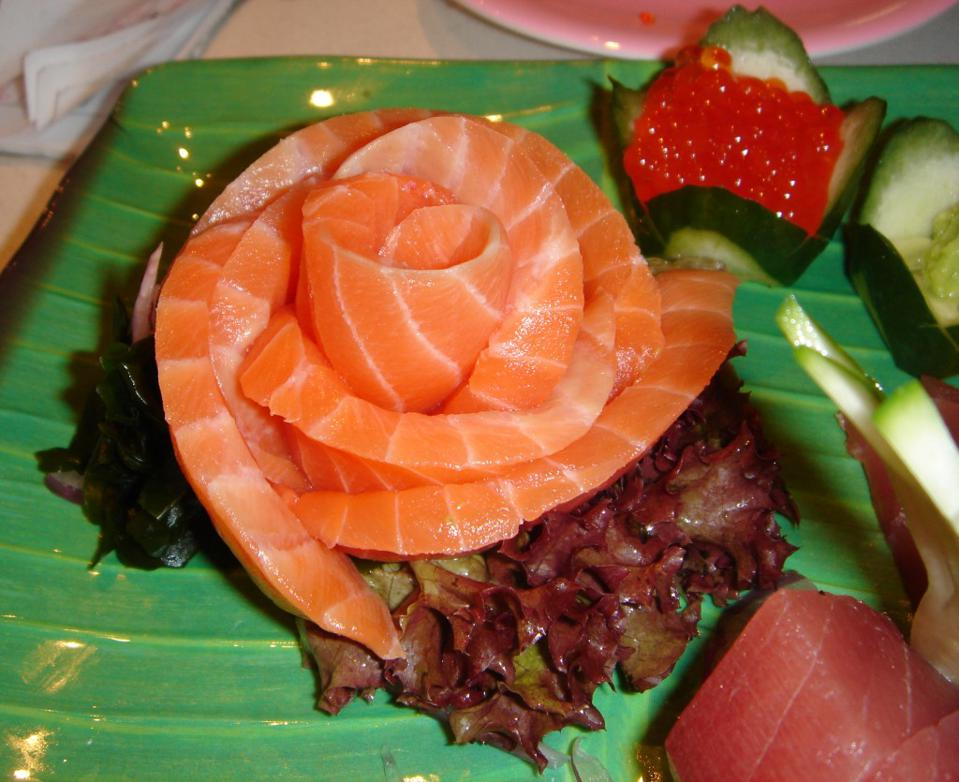 Salmon sashimi along with a helping of salmon roe.