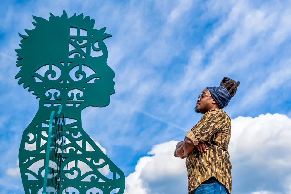 'Wrought, Knit, Labors, Legacies' by Olalekan Jeyifous at the Alexandria, VA waterfront.