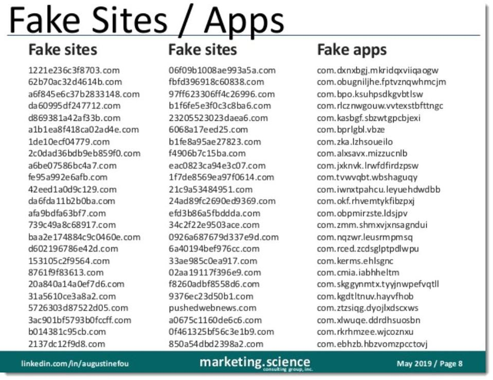 list of fake sites and apps used in ad fraud