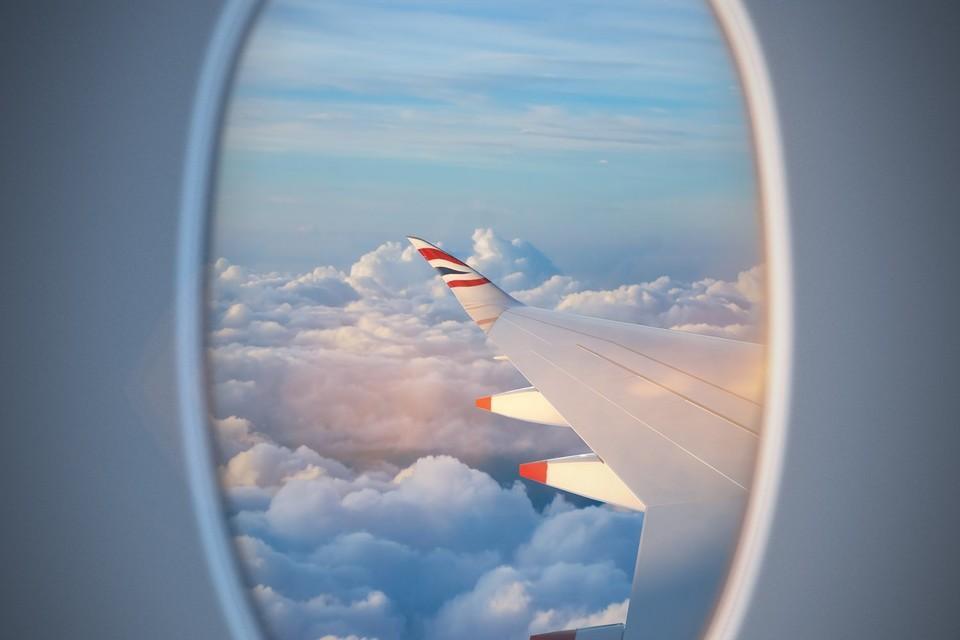 British Airways A350 wing seen through a window