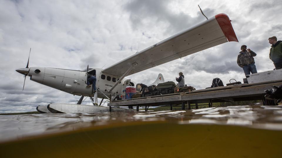 Float plane on water