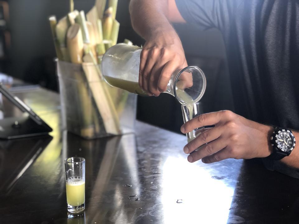Fresh pressed sugar cane juice at Ko Hana Distillers on Oahu
