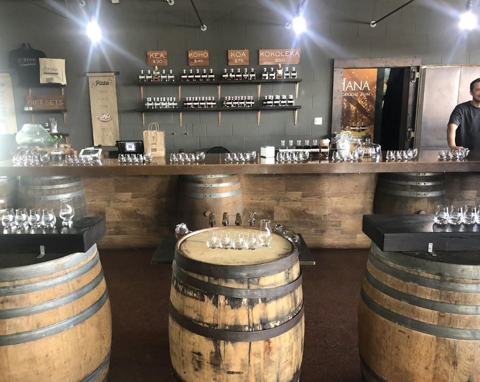 The tasting room at Ko Hana Distillers on Oahu