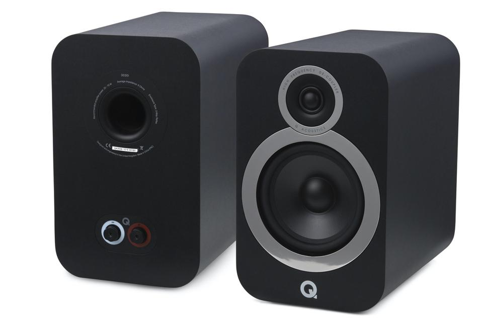 Front and back view of a Carbon Black pair of Q Acoustics 3030i speakers