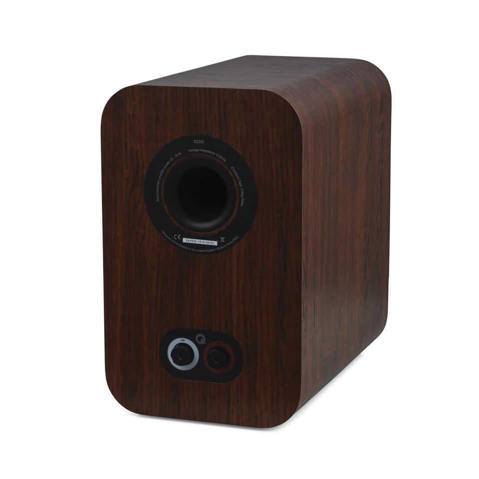 Rear view of an English Walnut Q Acoustic 3030i speaker