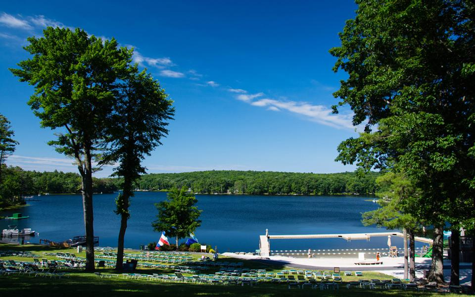 A lakefront scene at Woodloch Pines Resort.