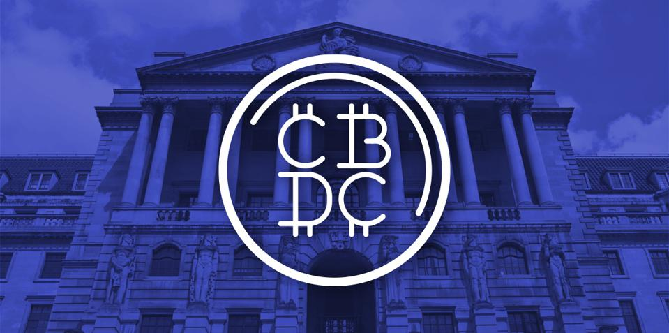 Photo of UK Central Bank with Central Bank Digital Currency graphic