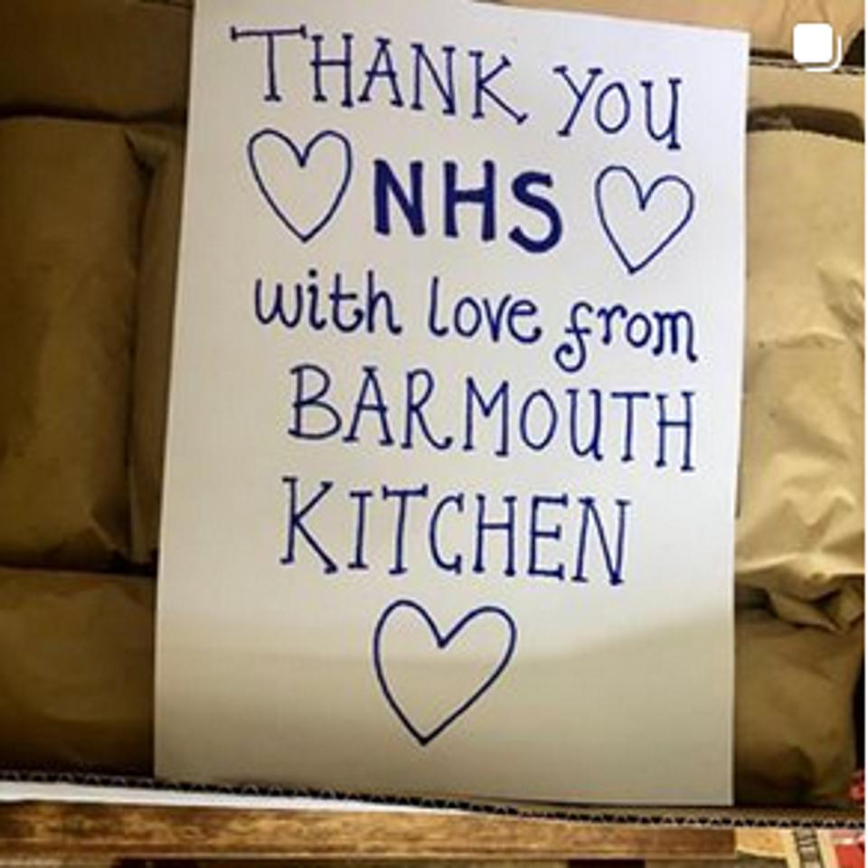 A hand-written note reading 'Thank You NHS' from Barmouth Kitchen, who help to feed NHS frontline staff at St George's Hospital in south London