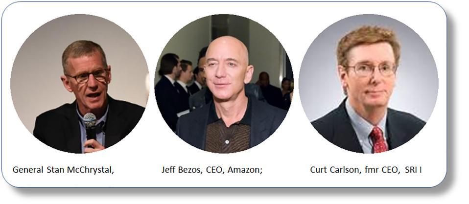 Amazon CEO Jeff Bezos; General Stan McChrystal; Former SRI CEO Curt Carlson