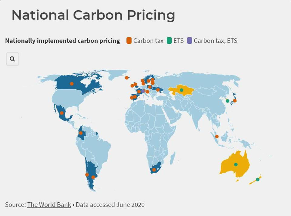 Summary map of national carbon pricing systems in force.