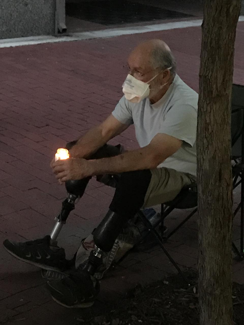 A double amputee from Vietnam War injuries attends a #BLM/George Floyd vigil