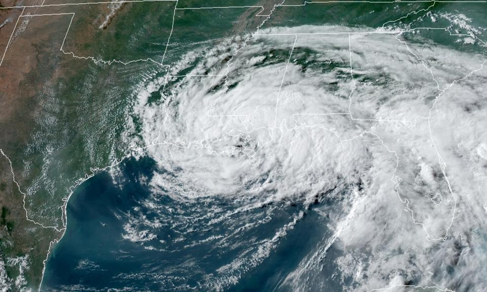 A satellite image of Tropical Storm Cristobal making landfall in La. on June 7, 2020.