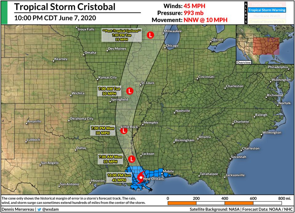 The NHC's forecast track for Tropical Storm Cristobal at 10:00 PM CDT on June 7, 2020.