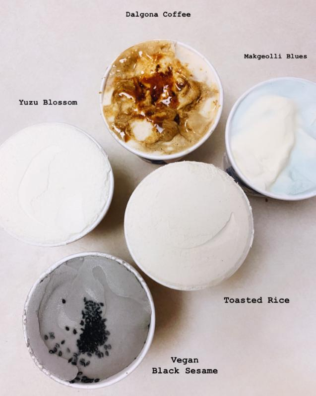 noona's ice cream flavors which include dalgona coffee