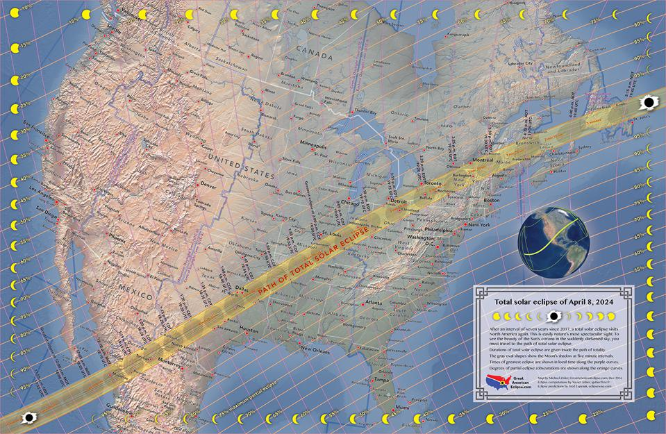 The path of totality for the total solar eclipse on April 20, 2024.